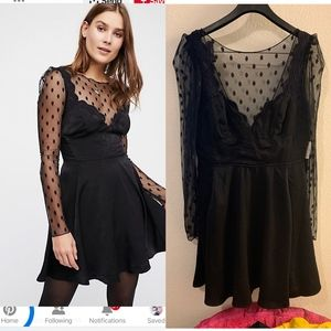 Party Dress Free People Black Swan Lace Mini Dress